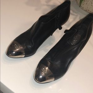 CHANEL Calfskin Silver Cap Toe Ankle Boots 38